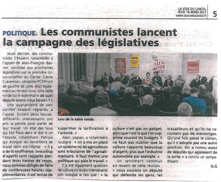 «La Voix du Cantal» du 22 Mars 2017