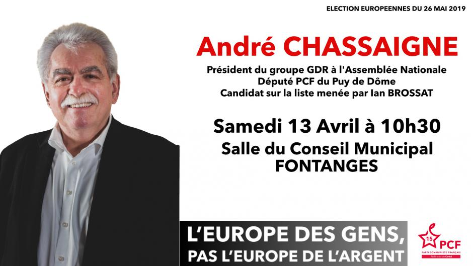Européennes 2019 : André Chassaigne dans le Cantal
