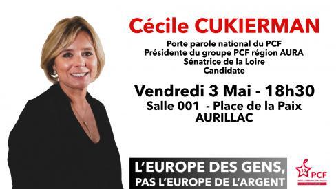 Européennes 2019 : Cécile CUKIERMAN à Aurillac